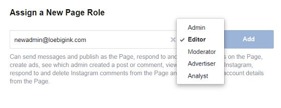 Assign a New Page Role - Editor