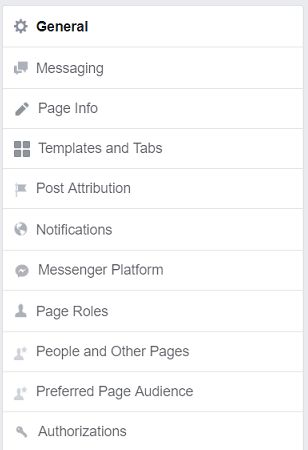 settings column - Facebook business page