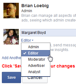 facebook admin options