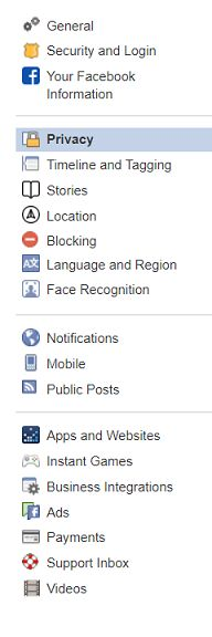Facebook privacy settings sidebar