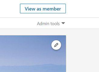 Admin tools arrow, LinkedIn