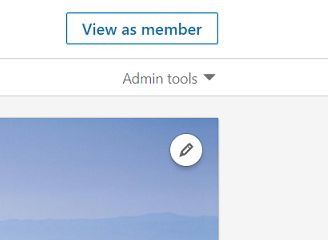 Admin tools arrow, LinkedIn