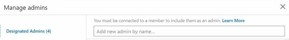 Manage admins window detail, LinkedIn