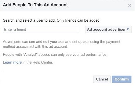 Add People to This Account Window - Facebook Ads for a Business page
