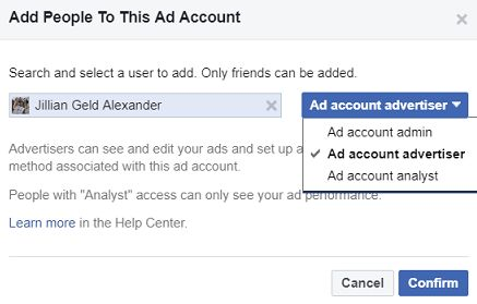 Add People to This Account Window with Facebook friend's name selected- Facebook Ads for a Business page