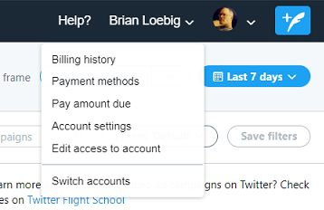 Twitter Ads account drop down menu