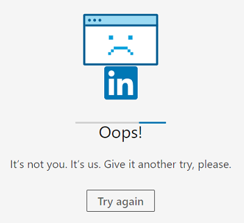Oops! error message - LinkedIn