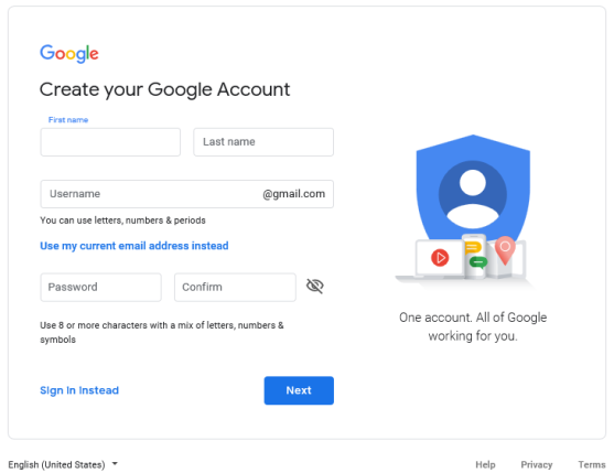 Google - create account