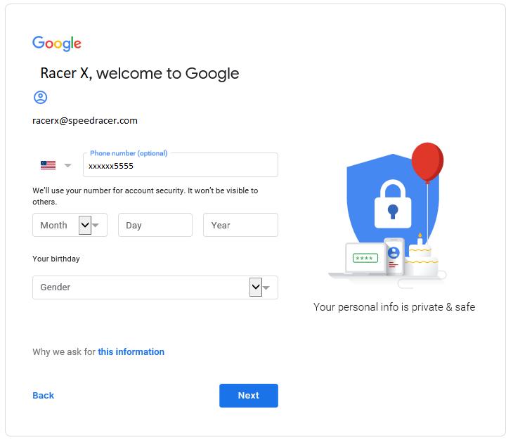 Google welcome screen