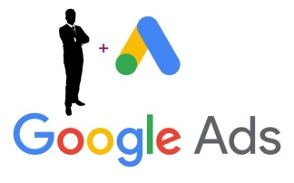 "Google ads logo with an ""add a manager"" illustration"