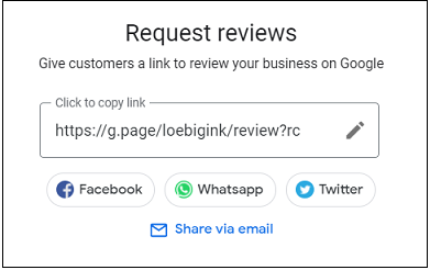 Google My Business Request reviews window