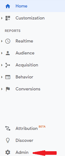 Google Analytics sidebar menu - admin wheel pointed out with a red arrow